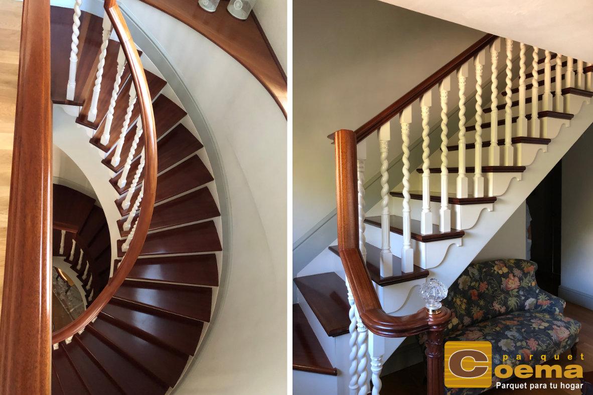 Escaleras forrado de huella con tablón macizo de hato