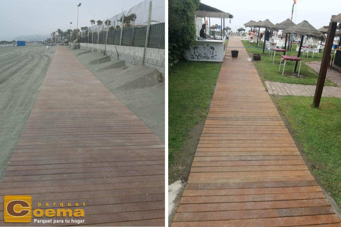 pasarela de madera de la senda litoral