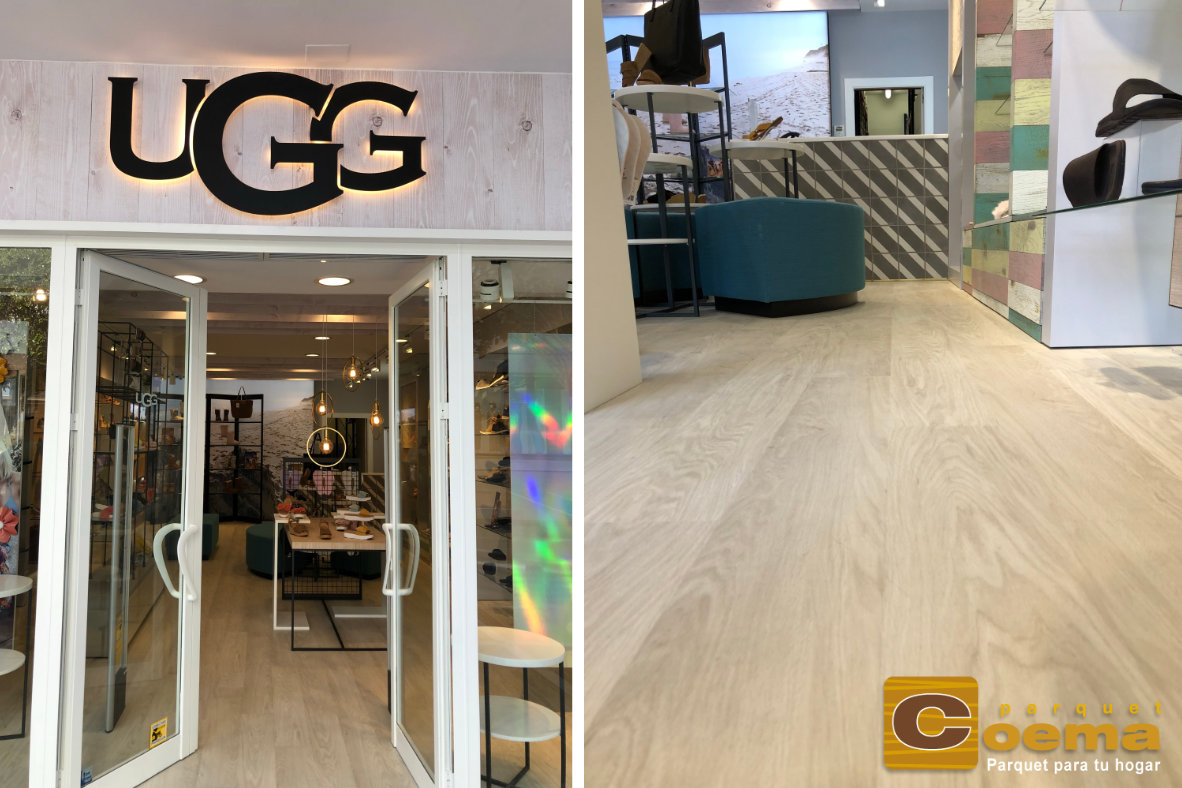 Instalación de pavimento suelo vinílico en duelas en tiendas UGG